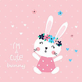 Vector  illustration with cute rabbit girl