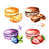 Traditional french Cakes macaron or macaroon, colorful cookies set. Watercolor hand drawn illustration, isolated on white background