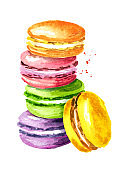 Traditional french Cake macaron or macaroon, colorful almond cookies. Watercolor hand drawn illustration, isolated on white background