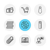 money , cart , tie , books , globe , scale , pin , laptop , eps icons set vector