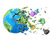 The planet shatters into shards and the garbage falls out of it isolated on white background