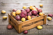 Fresh raw potatoes in the crate