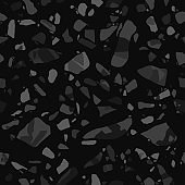 Terrazzo flooring vector seamless pattern in black colors. Texture of mosaic floor with natural stones.
