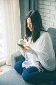 Comfortable texting phone at home