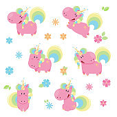 Vector illustration of cute pink unicorns in different poses