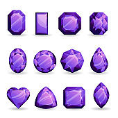 Set of realistic violet gemstones. Tanzanite of different forms isolated on white background.
