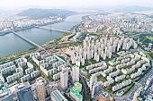 Beautiful top view of the Han River and residential buildings