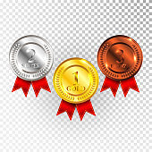 Champion Gold, Silver and Bronze Medal with Red Ribbon Icon Sign First, Second and Third Place Collection Set Isolated on Transparent Background. Vector Illustration