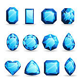 Set of realistic light blue gemstones. Topaz of different forms isolated on white background.