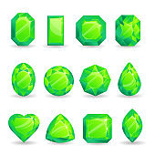 Set of realistic green jewels. Colorful gemstones. Green emeralds isolated on white background.