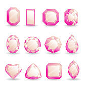 Set of realistic pink gemstones. Pink tourmaline stone of different forms isolated on white background.
