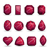 Set of realistic red jewels. Colorful gemstones. Rubies of different forms isolated on white background.