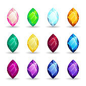 Isolated colorful gemstones of marquise shape set. Vector illustration for jewelry design.