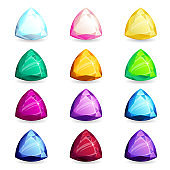 A collection of isolated realistic triangle-shape of precious stones of different types. Jewelry for mobile games or design