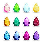 Collection isolated realistic pear gemstones different types. Jewelry gems for game assets or design