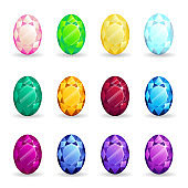 Collection isolated realistic oval gemstones different types. Jewelry gems for game assets or design