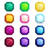 Isolated colorful gemstones of asscher shape set. Jewelry gems for game assets