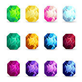 Isolated colorful gemstones of cushion shape set. Vector illustration for jewelry design.