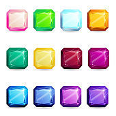 Collection isolated realistic radiant gemstones different types. Jewelry gems for game assets or design
