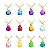 Jewelry pendants pear's form set with diamond, ruby, emerald, topaz. Golden chains with gemstones. Precious necklaces for jewelry shop design. Vector illustration.