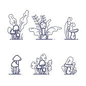 Flat outline musrooms with grass. Vector llustrations for icons, games, coloring.