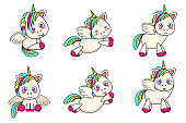 Set of little winged unicorns with different poses