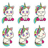 Set of cute unicorns with different emotions