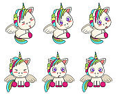 Set of little winged unicorns with different emotions
