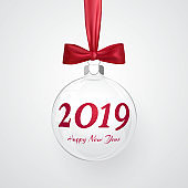 2019 Christmas and New Year background with transparent christmas ball and bow for xmas design. Vector illustration