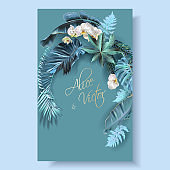 Tropical leaves turquoise and violet wedding cards