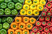 Green, red, orange and yellow Bell Peppers