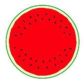 Illustration of cross section of watermelon.