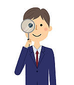 Businessman,Magnifying glass