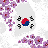 decorated with hibiscuses and abstract fireworks South Korean map