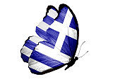 flag of Greece on the wings of a butterfly