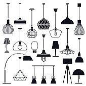 Set of vector indoor lights