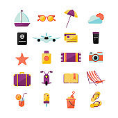 Set with different summer icons, such as: ship, sunglasses, umbrella, sun and cloud, passport, plane, credit card, thermo mug, seastar, suncream, towel, camera, bag, motoscooter, book, lounge chair, cocktail, ice-cream, kid bucket with blade, slippers