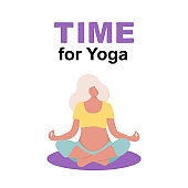 Vector Illustration. Young beautiful pregnancy woman character meditation while sitting yoga position in modern flat style. Time for Yoga poster. Pregnant yoga pose for yoga studio.