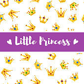 Vector Illustration. Cartoon crowns pattern with different crowns and Little Princess. Poster for small Princess