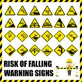 Set of safety warning signs and symbols of the risk of falling, Labels and signs using for fall hazard prevention.