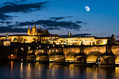Prague Castle and St. Vitus cathedral in twilight with dramatic sky. Prague, Czech Republic