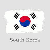 Vector Illustration. Hand draw South Korea flag. National South Korea banner for design on grey background