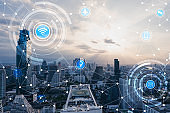 Blue high-tech tone of cityscape connected line with wifi sign, technology concept, internet of things conceptual