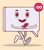 Message icon character walking and smiling vector illustration