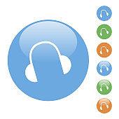 vector simple round headphones icon