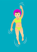 Girl swimming on the back in the pool water.