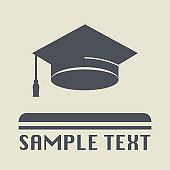 Graduation cap icon or sign