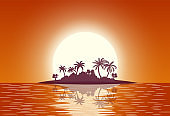 Hot tropical island with palm trees