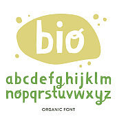 Vector lowercase alphabet for bio packaging, organic production.