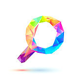 magnifier glass icon of triangles on white background